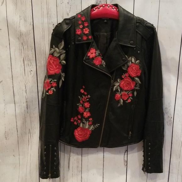 "torrid Jackets & Blazers - NWOT Torrid Faux Leather ""Rose"" Moto Jacket 1X!"